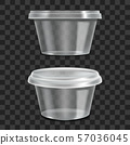Realistic 3d Detailed Container Sour Cream Sauce Set. Vector 57036045