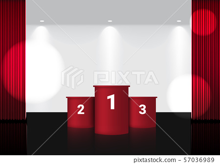 3D Mock up Realistic Open Red Curtain on Award 57036989