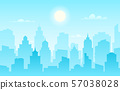 Flat cityscape. Modern city skyline, daytime panoramic urban landscape with silhouette buildings and 57038028