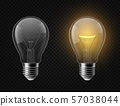 Realistic light bulb. Turned off and glowing isolated lamps. Creative idea and innovation lightbulb 57038044