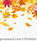 Falling autumn leaves. Flying yellow fall foliage. Autumnal frame border for banners, flyers and 57038062