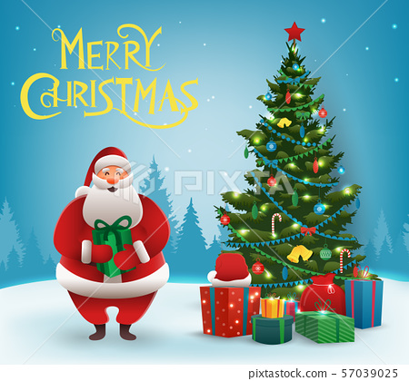 Santa Claus with Christmas tree. Merry Christmas and Happy New Year. Vector 57039025