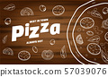 Pizza food menu for restaurant and cafe. Design in doodle lineart style template flyer baner with 57039076