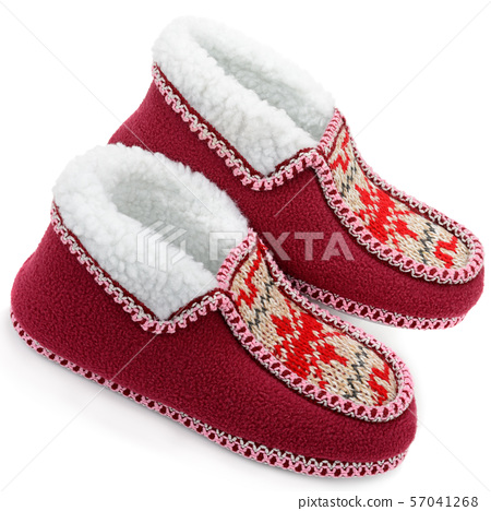 Cozy home slippers isolated on a white background. 57041268