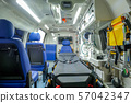 Inside an ambulance car with medical equipment  57042347