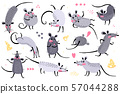Set of funny rats for design. Cute little mice in different poses. Merry mouse romp. Vector 57044288