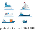 set of boat cartoon vector illustration flat 57044388
