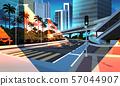 highway road night city street with modern skyscrapers bridge subway railroad urban cityscape 57044907