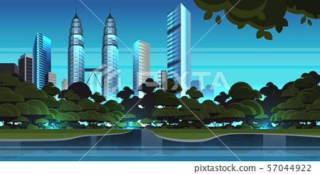 beautiful night city panorama skyline high skyscrapers waterfront view modern cityscape background 57044922