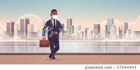 businessman wearing face mask toxic gas air pollution industry smog danger polluted environment 57044943