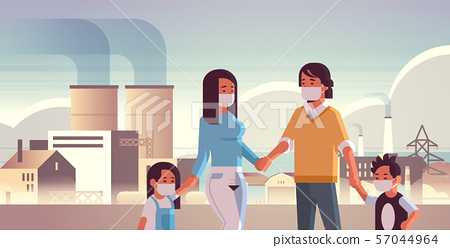 parents and children wearing face masks toxic gas air pollution industry smog polluted environment 57044964