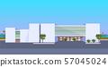 modern hotel office building exterior commercial business center design landscape background flat 57045024