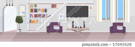 modern living room interior empty no people house room with furniture flat horizontal 57045026