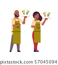 professional waiters couple holding serving trays with cocktails african american man woman 57045094