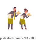 professional waiters couple holding dish man woman restaurant workers in uniform with tray and towel 57045103