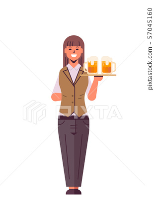 professional waitress holding serving tray with two glasses of beer woman restaurant worker in 57045160