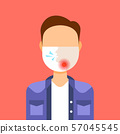 man wearing protective face mask with painful sore throat ache illness medicine healthcare concept 57045545