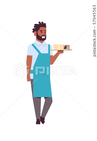 professional waiter holding coffee and cake on tray african american man restaurant worker in apron 57045563