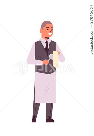 professional waiter polishing wine glass with towel man restaurant worker in uniform flat full 57045657