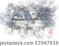 도로 공중 촬영 수채화 화풍 57047639
