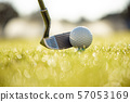 Golf ball on tee in front of driver 57053169