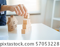 Close-up hand of businesswomen a pyramid with empty wooden cubes 57053228