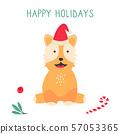 Christmas card with acorgi dog. Holiday greetings 57053365