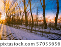first snow.autumn in the park and sunset. 57053656