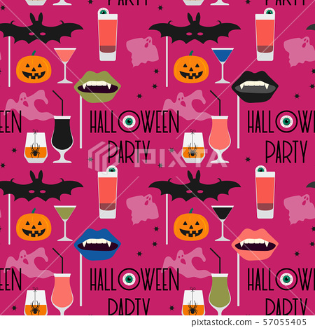 Vector seamless pattern Halloween 2020 Party 57055405