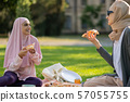 Muslim students eating pizza and talking after classes 57055755