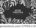 Christmas hand drawn vector greeting card 57056119