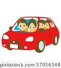빨간 자동차를 타고 가족 57056348