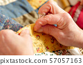close-up of the hands of a seamstress 57057163