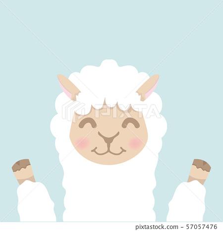 Cute alpaca  fluffy head face vector 57057476