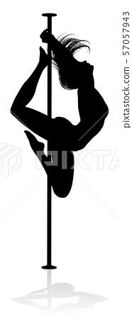 Pole Dancing Woman Silhouette 57057943
