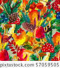 Autumn watercolor hand drawn seamless pattern with leaves mushrooms and pine cones 57059505