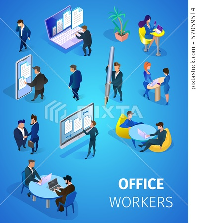Office Workers Set Isolated on Blue Background. 57059514