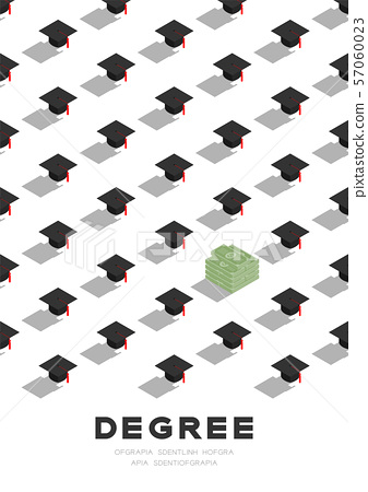 Graduate cap or mortarboard with banknote pile 3D isometric pattern, Importance of education or money concept poster and banner vertical design illustration isolated on white background, vector 57060023