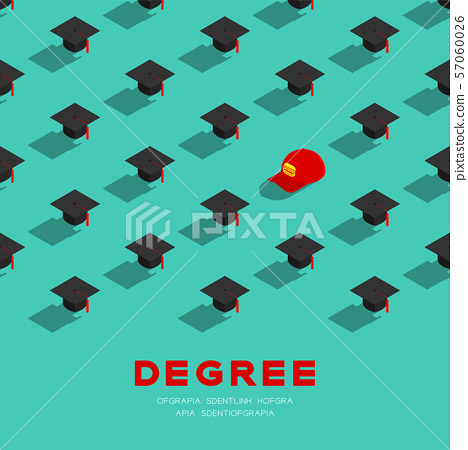 Graduate cap or mortarboard with Part-time job staff cap 3D isometric pattern, Importance of education concept poster and banner square design illustration isolated on green background, vector 57060026