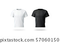 Blank black and white t-shirt mockup, isolated, front view, 57060150