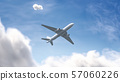 Blank white airplane mockup on sky background, bottom view 57060226