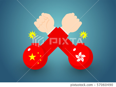 Arm wrestling Government Hand with bomb of China and Hong Kong flag, Protest extradition legal problem concept poster and social banner post design illustration isolated on blue background, vector eps 57060490