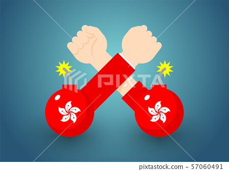 Arm wrestling Government and citizen hand with bomb of Hong Kong flag, Protest extradition legal problem concept poster and social banner post design illustration isolated on blue background, vector 57060491