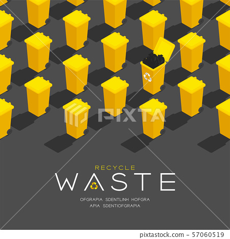 Plastic yellow Trash and recycle waste garbage 3D isometric pattern, Conservation environment concept poster and social banner post square design illustration isolated grey background, vector eps 57060519
