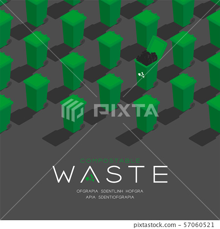 Plastic green Trash and compostable waste garbage 3D isometric pattern, Conservation environment concept poster and social banner post square design illustration isolated grey background, vector eps 57060521