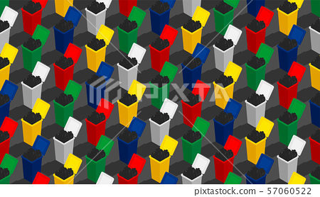 Plastic Trash and waste garbage 3D isometric seamless pattern, Conservation environment concept poster and social banner post square design illustration isolated grey background with space, vector eps 57060522