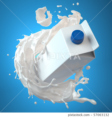 Mockup of milk tetra pack. Carton box  or 57063132