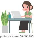노트북을 사용하는 여성 57063165