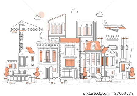 Illustration of urban landscape street with cars, skyline city office buildings, on light background 57063975