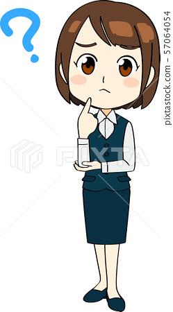 사무 옷을 입은 여성 전신 곤란 얼굴 애니메이션 터치 57064054